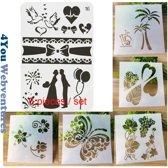 Bullet Journal Plastic Stencils - 6 stuks - Couple - Romantiek - Romance - Hartjes - Vlinders - Bloemen - Templates - Sjablonen - A4 + 5x 1/4 A4 - Handlettering toolkit - Knutselen - Decoratie - Accessoires - 4You Webventures