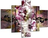 Glasschilderij Orchidee | Paars, Wit | 100x70cm 5Luik | Foto print op Glas |  F005757