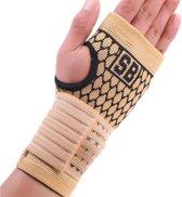 Polsbrace polsbandage Band - Met Straps - Ortho Stretch Compressie - Polssleeve - Max. Pols bescherming en ondersteuning - Lichtgewicht - Beige