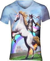 Awesome cat festival shirt Maat: M V-hals