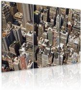 Schilderij - New York van boven, Bruin/Beige, 2 Maten, 3luik