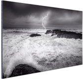 Storm op zee  Aluminium 180x120 cm - Foto print op Aluminium (metaal wanddecoratie)