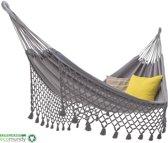 ECOMUNDY ROMANCE XL BIO 380 GRIJS - Premium hangmat met franje - 2persoons - handgeweven - bio katoen - GOTS
