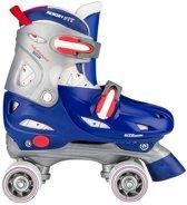 Nijdam Junior Rolschaatsen Junior Verstelbaar Hardboot Blauw Rood Zilver 30 33