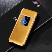 USB Elektrische Aansteker met Touchscherm - Vlamloze Aansteker - Geen Olie of Gas - Milieuvriendelijk - Bestand tegen de wind - Makkelijk Oplaadbaar aan je Laptop of PC  - Ideaal Cadeau voor Rokende Vrienden - Gouden Kleur