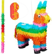 relaxdays 3-delige pinata set lama - stok en blinddoek - ezel piñata - verjaardag - bont