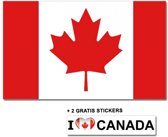Canadese vlag met 2 gratis Canada stickers