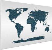 Wereldkaart Blauw kruisjes en plusjes aluminium 40x30 cm | Wereldkaart Wanddecoratie Aluminium