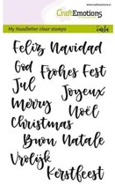 CraftEmotions stempel A6 - handletter - kerst in 7 talen