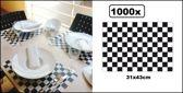 1000x Placemats papier geblokt zwart/wit