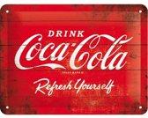 Coca Cola Logo Retro Reclame Wandbord, 15 x 20 cm