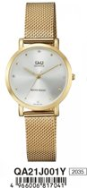 Mooi Q&Q dames horloge -QA21J001Y goudkleurig