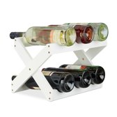 relaxdays wijnrek bamboe 6 flessen - flessenrek x-vorm - flessenhouder - tafelmodel wit