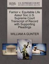 Farrior V. Equitable Life Assur Soc U.S. Supreme Court Transcript of Record with Supporting Pleadings