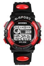 HONHX S Sport - Horloge - Kunststof - 44 mm - Zwart/Rood