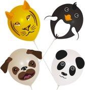 Ballon gezichten dieren set met stickers