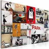 Schilderij - Banksy - collage, multikleur, 1 deel, 2 maten