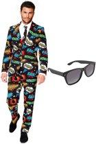Comic print heren kostuum / pak - maat 56 (XXXL) met gratis zonnebril