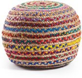 Kave Home Samy Poef - Jute - 50x35cm - Naturel en Multicolor
