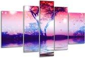 Glasschilderij Boom | Paars | 170x100cm 5Luik | Foto print op Glas |  F005907