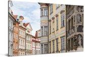 Kleurrijke huizen bij het Oude Stadsplein in Praag Aluminium 90x60 cm - Foto print op Aluminium (metaal wanddecoratie)