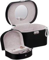 relaxdays sieradenkistje kunstleer - afsluitbaar - sieradendoos met spiegel - bijouterie zwart