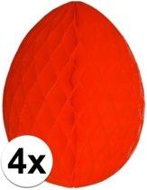 4x Decoratie paasei rood 10 cm - Paasversiering / Paasdecoratie