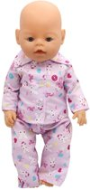 Roze pyjama met konijntjes voor pop 39-43 cm zoals Baby Born - Poppenpyjama