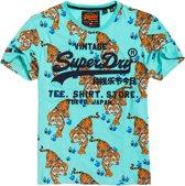 Superdry Shirt - Maat M  - Mannen - groen/zwart