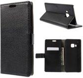 Litchi Cover wallet case hoesje HTC One M9 zwart