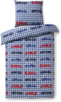 Zzzacht Auto's - Dekbedovertrek - Eenpersoons - 140 x 200 cm - Blauw