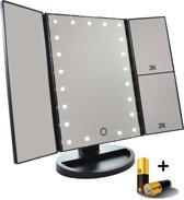 Make-up spiegel met LED verlichting - Drieluik. 2+3 maal vergroting- inclusief USB kabel