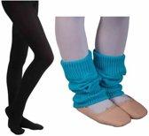 Ballet Beenwarmer turkoise 8cm en Balletmaillot Zwart - Maat 116/122
