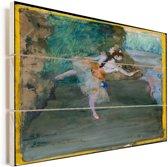 Dancer Onstage - Schilderij van Edgar Degas Vurenhout met planken 40x30 cm - klein - Foto print op Hout (Wanddecoratie)