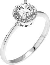 Montebello Ring Palmorchis - Dames - Zilver Gehrodineerd - Zirkonia - ∅7mm - maat 58 - 18.5