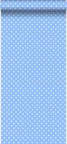 HD vliesbehang stippen licht blauw - 138103 van ESTAhome.nl