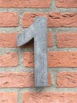Grote betonnen huisnummer, Hoogte 25cm, huisnummer beton cijfer 1