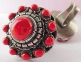 Zeer grote bolle Zeeuwse knop ring rode emaille zkr314-r 3,5 cm doorsnede