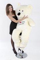 Grote teddebeer / knuffelbeer - Zachte pluche - I love you - Wit