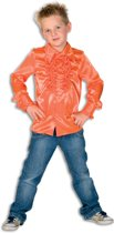 Ruches blouse satijn oranje