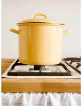 Hoge pan met chroomrand goudgeel - Riess