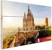 Kerk Sagrat Cor Barcelona Hout 30x20 cm - klein - Foto print op Hout (Wanddecoratie)