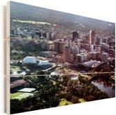 Luchtfoto van Adelaide in Australië Vurenhout met planken 40x30 cm - klein - Foto print op Hout (Wanddecoratie)