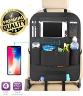 Luxe autostoel organizer - auto organizer - met 4x USB - ipad houder - oplaadpunten - auto organizer voor kinderen - tablet - fleshouder kinderen - met opbergvakken overzichtelijk - afwasbaar en waterproof - premium en duurzaam kwaliteit