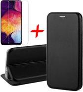 Samsung Galaxy A30s Hoesje + Screenprotector Case Friendly - Book Case Flip Wallet - iCall - Zwart