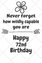 Never Forget How Wildly Capable You Are Happy 72nd Birthday: Cute Encouragement 72nd Birthday Card Quote Pun Journal / Notebook / Diary / Greetings /