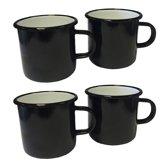 Emaille mok - zwart met witte binnenzijde - 8 cm -4 stuks