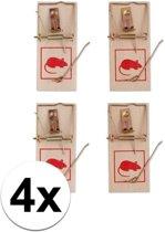 Muizenval - 4 stuks - hout/metaal - muizenvallen / muizenklem