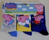 Set van 3 Paar Peppa George sokken maat 27/30, grijs-geel-donkerblauw