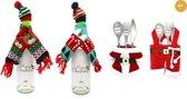 JAP Kerstversiering decoratie voor binnen - 4x Bestekset - 1x Flessenhouderset